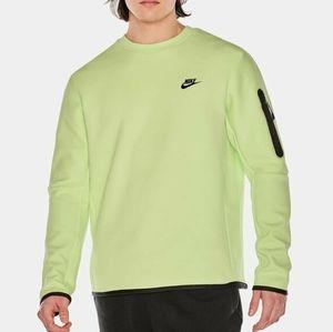Brand new mens Nike techfleece crew sweater lime